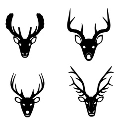 Collection of silhouettes of deer heads vector