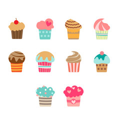 flat color cupcake icon set vector image vector image