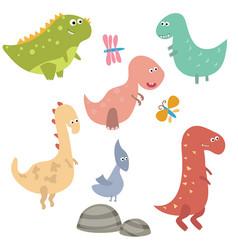funny cartoon dinosaurs funny cartoon dinosaurs vector image