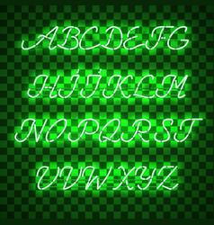 Glowing green neon uppercase script font vector