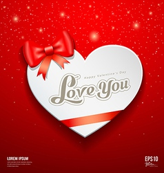 Happy valentine day greeting card and red ribbon vector