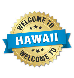 Hawaii 3d gold badge with blue ribbon vector