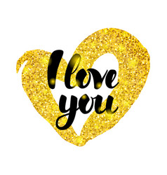 i love you gold inscription vector image