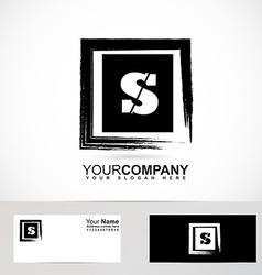 Letter s logo grunge square vector