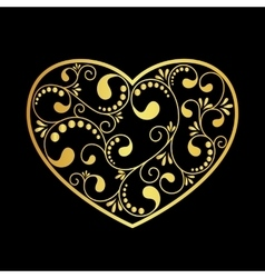 Luxury gold heart vector