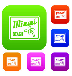 Miami beach set collection vector