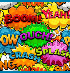 Multicolored comics speech bubbles seamless patter vector