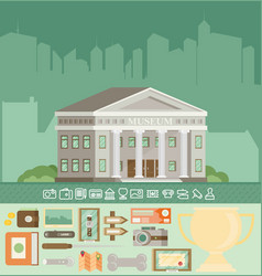 Museum icons set with building flat vector
