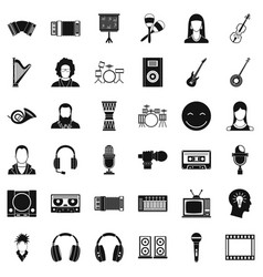 Musician icons set simple style vector