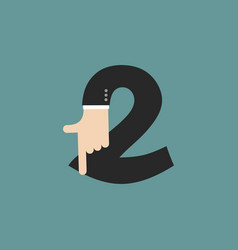 Number 2 letter businessman hand font it shows vector