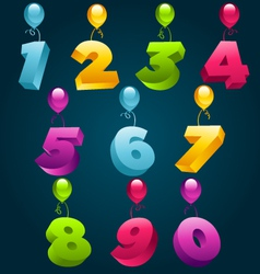 numbers with party balloons vector image vector image