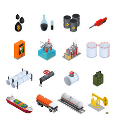 Oil industry and energy resource color icons set vector
