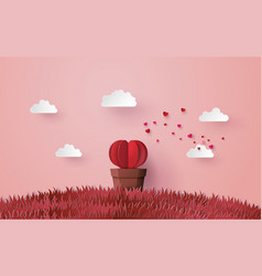 Origami made heart shape tree with pot set in the vector