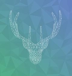 Polygonal head of deer tattoo or geometric print vector