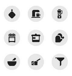 Set of 9 editable cooking icons includes symbols vector