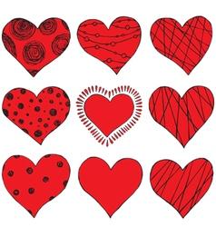 set of hand drawing hearts vector image vector image