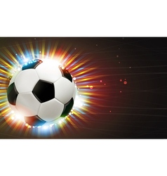 Soccer ball and fireworks vector image