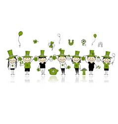 St Patricks Day friends with beer mugs vector image