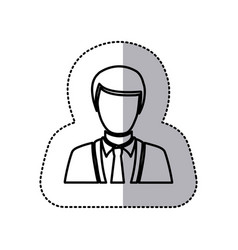 sticker monochrome half body silhouette man vector image