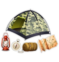 Sticker set with camping equipment vector image