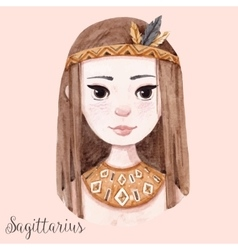 Watercolor horoscope sign sagittarius vector