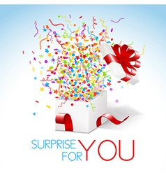 White box with red ribbon and colorful confetti vector