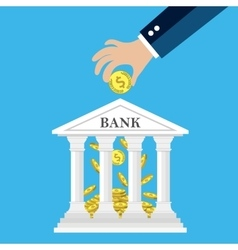 Hand putting golden coin into bank vector image