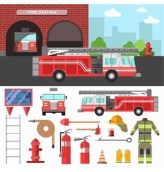 Firefighting department and equipment set vector