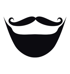 Moustache and beard icon simple style vector