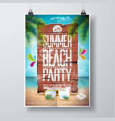 Summer beach party flyer design with typographic vector