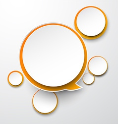 Paper white-orange round speech bubbles vector