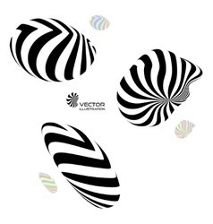 A set of different 3d striped geometric figures vector image