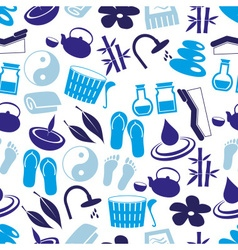 Spa and relaxation simple blue seamless pattern vector