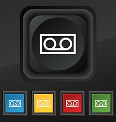 Audio cassette icon symbol set of five colorful vector