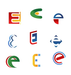 Letter e symbols and icons vector