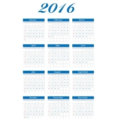 New year calendar 2016 vector