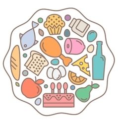 Flat food icons quality style logo vector