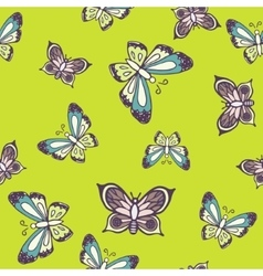 Hand drawn butterfly ink doodle seamless pattern vector