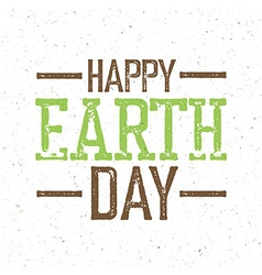 Vintage earth day logo on recycled paper texture vector