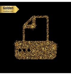 Gold glitter icon of fax machine isolated vector