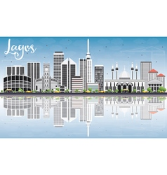 Lagos skyline with gray buildings blue sky vector