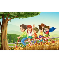 A group of people biking vector image vector image