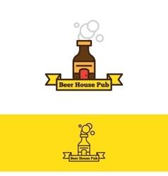 beer bottle with a door logotype Cartoon vector image vector image