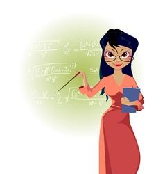Cartoon woman teacher on blackboard background vector