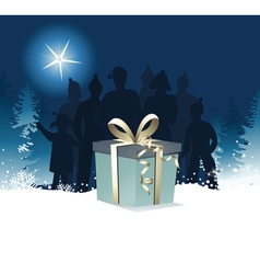 Christmas night gift vector image vector image
