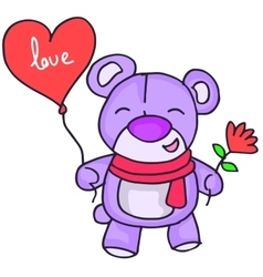 Cute teddy bear with love ballon vector