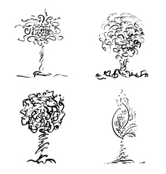 Design trees in sketch style vector image vector image