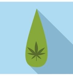 Drop marijuana icon flat style vector