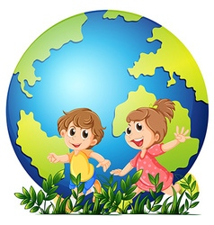 Earth theme with boy and girl running vector image vector image