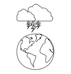 figure earth planet with cloud ray icon vector image